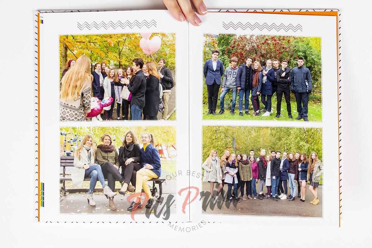 Разворот выпускного альбома с фотографиями класса